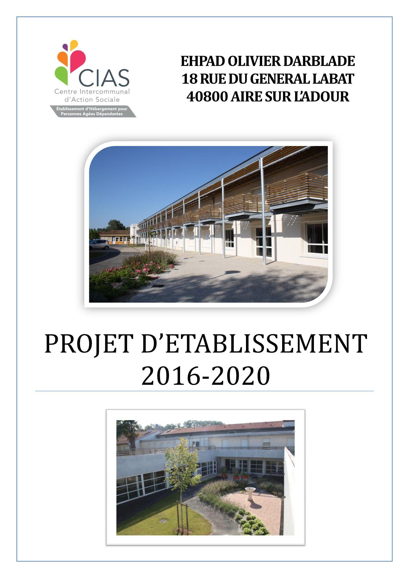 Projet établissement EHPAD 2016-2020